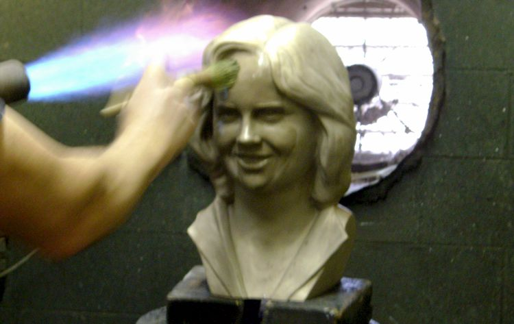 Patina applied to bronze portrait bust