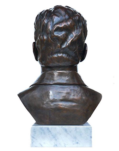 Rear of Rajamani custom bronze portrait