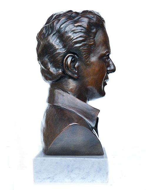 Side view of Rajamani custom bronze portrait