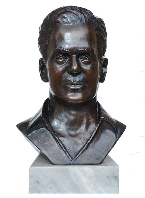 Front view of Rajamani custom bronze portrait