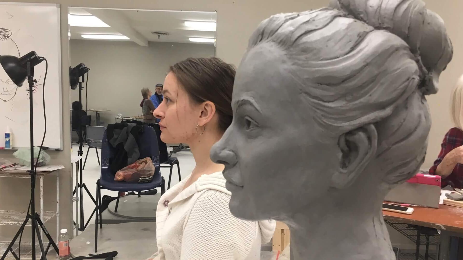 Work in progress - clay bust sculpture by artist Stephanie Hunter