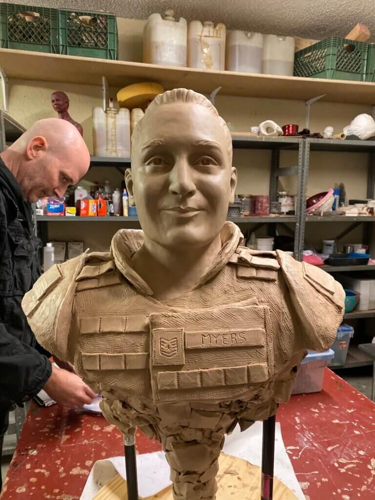Custom Bronze Postrait Sculpture Statue Art by Sculptor Artist Stephanie Hunter image of Tech. Sgt. Phillip A Myers 1