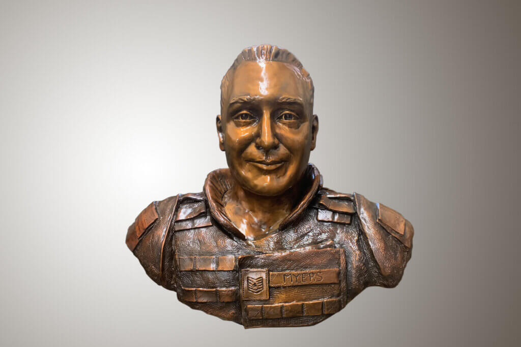 Custom Bronze Postrait Sculpture Statue Art by Sculptor Artist Stephanie Hunter image of Tech. Sgt. Phillip A Myers