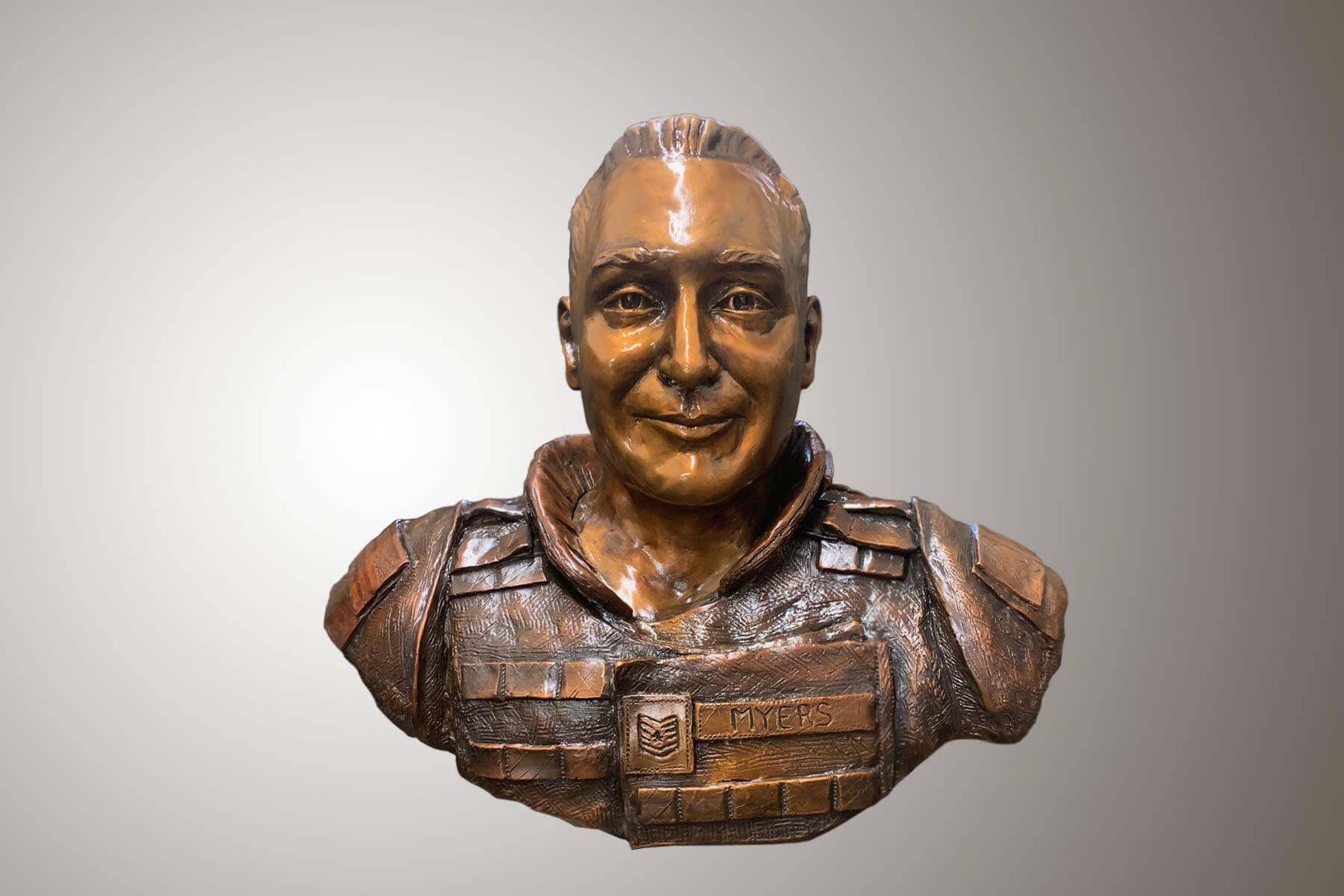 Custom Bronze Postrait Sculpture Statue Art by Sculptor Artist Stephanie Hunter image of Tech. Sgt. Phillip A Myers