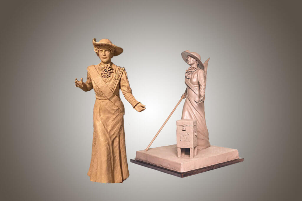 Custom Bronze Postrait Sculpture Statue Art by Sculptor Artist Stephanie Hunter image of Frances Willard Munds Arizona