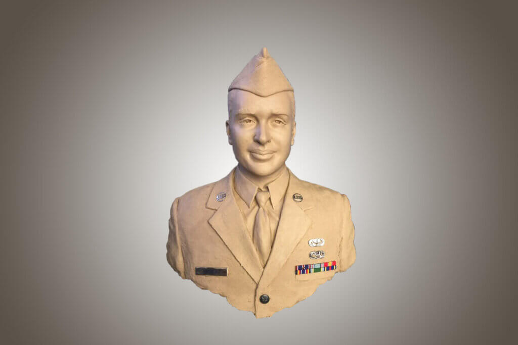 Custom Bronze Postrait Sculpture Statue Art by Sculptor Artist Stephanie Hunter image of Staff Sergeant Francisco J