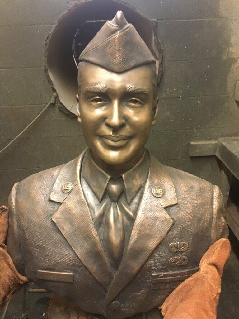 Custom Bronze Postrait Sculpture Statue Art by Sculptor Artist Stephanie Hunter image of Staff Sergeant Francisco J