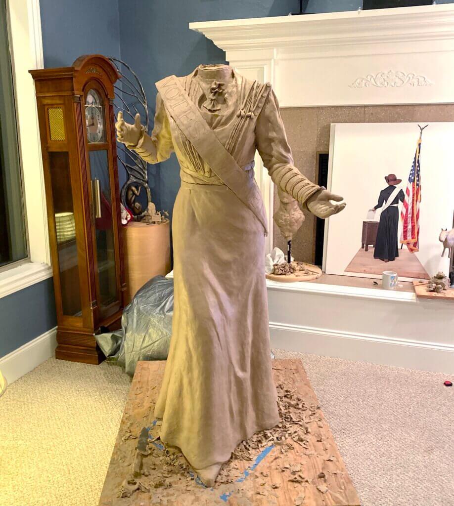 Frances Munds Arizona Suffrage Statue clay work in progress