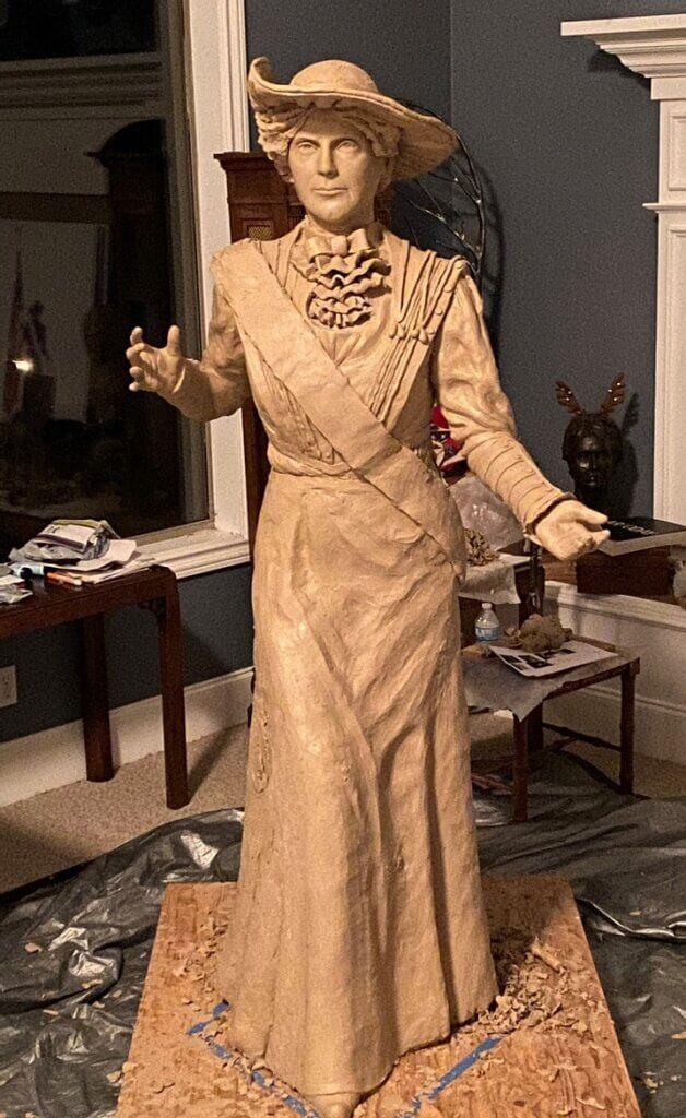 Frances Willard Munds clay full size statue in progress, President of Arizona Equal Suffrage Association