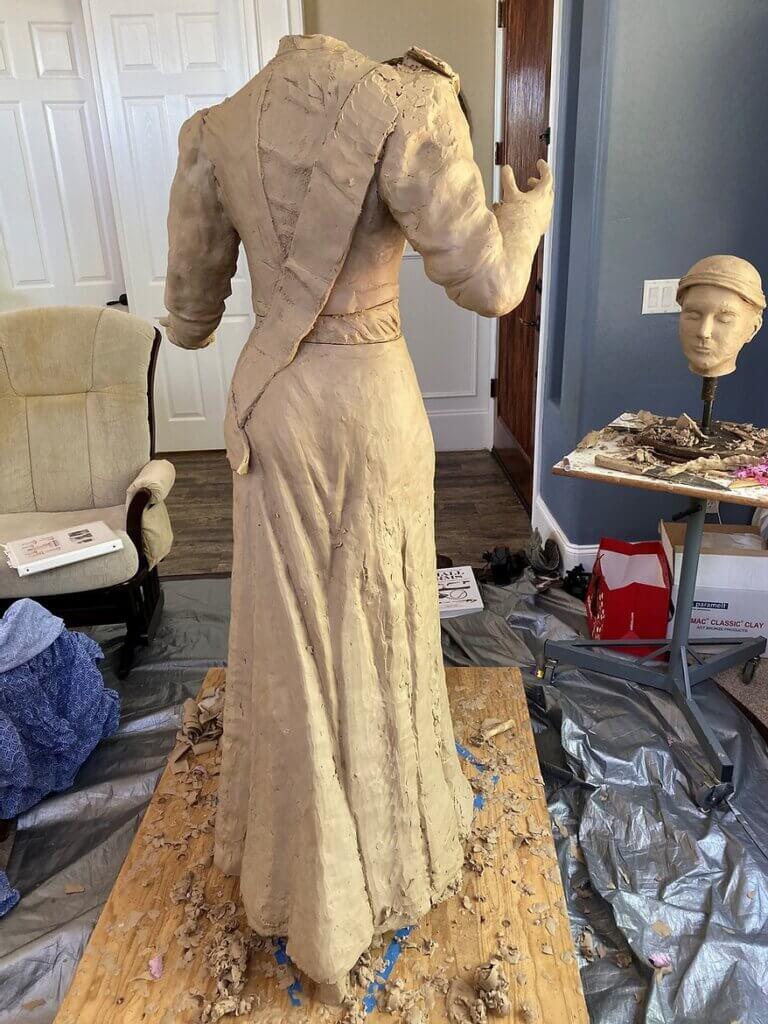 Frances Willard Munds statue rear work in progress, President of Arizona Equal Suffrage Association
